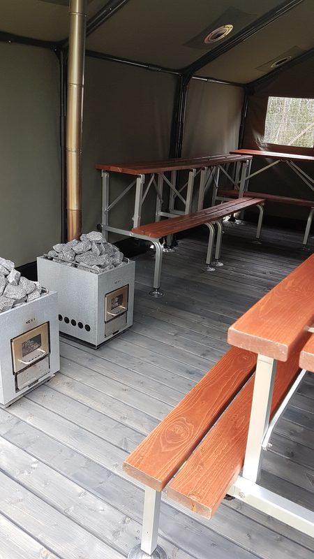Peruskäyttö - Peruskäytössä koko telttasauna on yhtenäistä saunatilaa, jossa kaksi kiuasta tuottaa saunojille lämpöä.