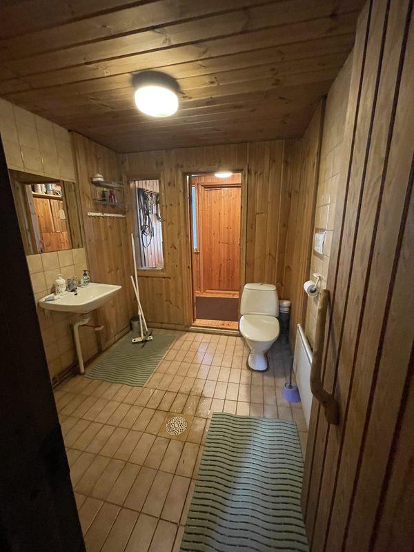 Kylpyhuone - Saunan ovelta päin kuvattu kylpyhuonetiloja