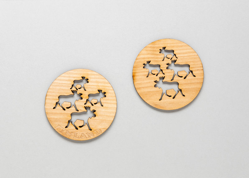 "Coasters for drinking glasses ""Moose"", 4 pcs set (birch)"