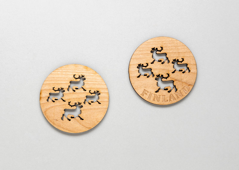 "Coasters for drinking glasses ""Reindeer"", 4 pcs set (birch)"