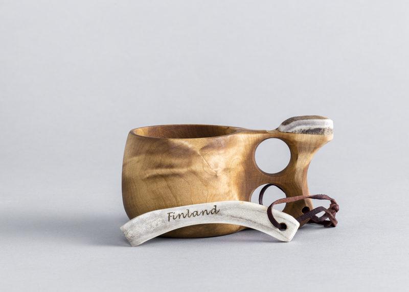 Guksi with reindeer antler handle (birch burl, size M)