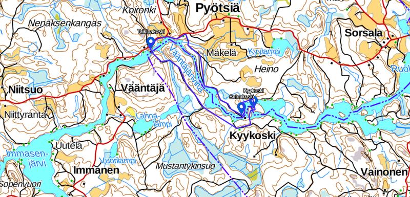 Kartta Väliväylän retkeilyreitti
