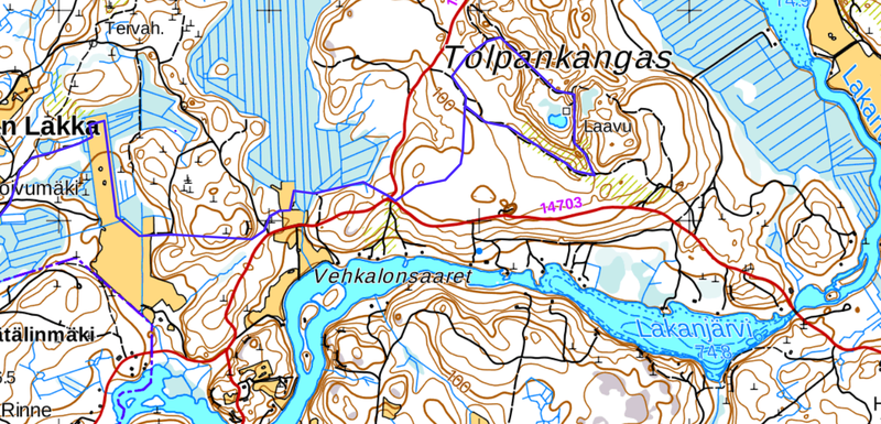 Kartta Kannuskosken hiihtolatu