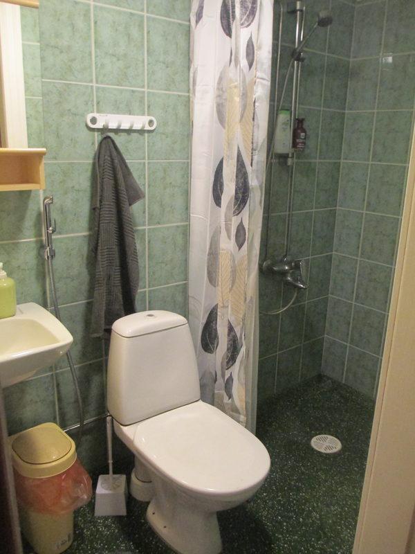 Torpassa on sisä-wc ja suihku