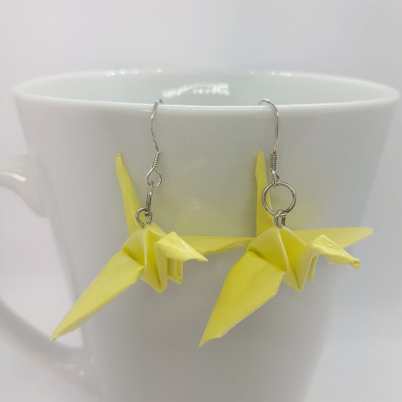 Origami-kurki -korvakorut, keltainen