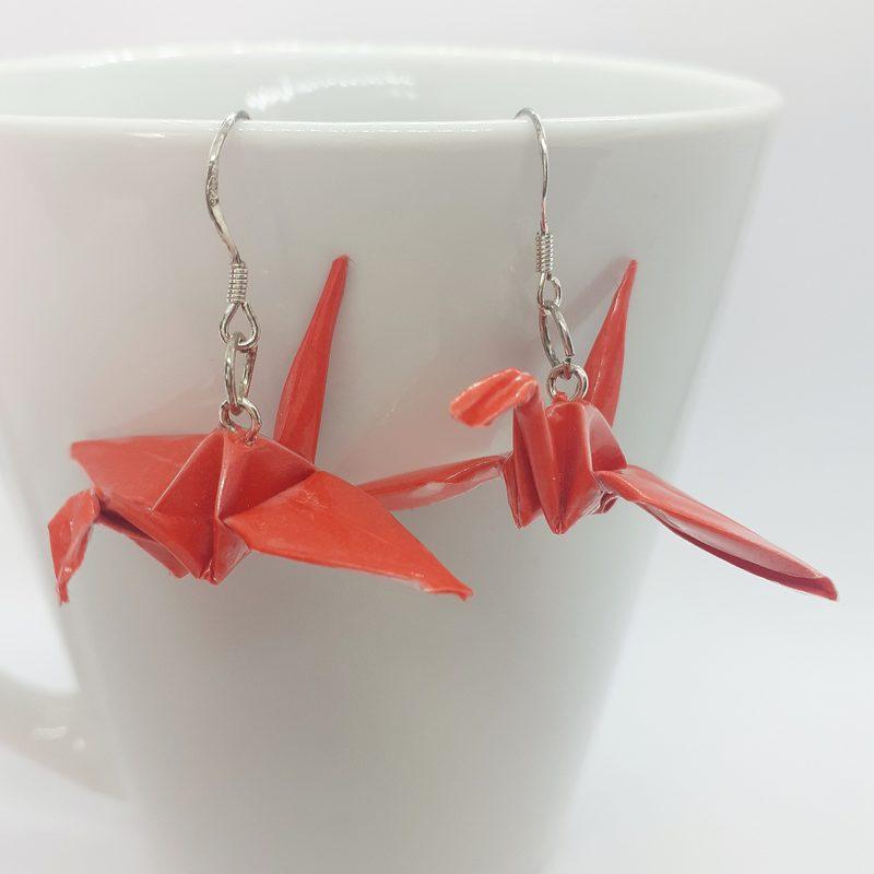 Origami-kurki -korvakorut, punainen