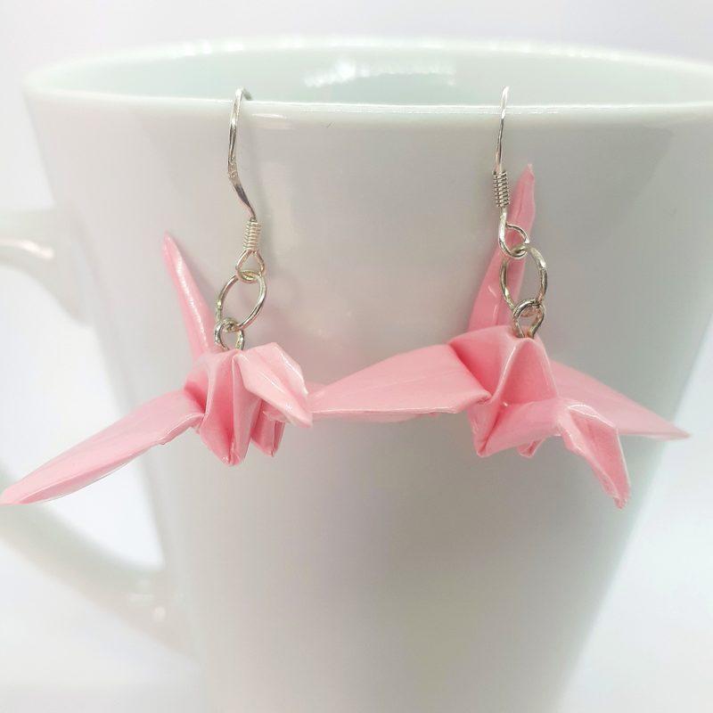 Origami-kurki -korvakorut, vaaleanpunainen