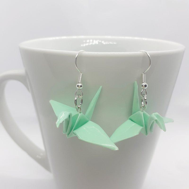 Origami-kurki -korvakorut, vaaleanvihreä