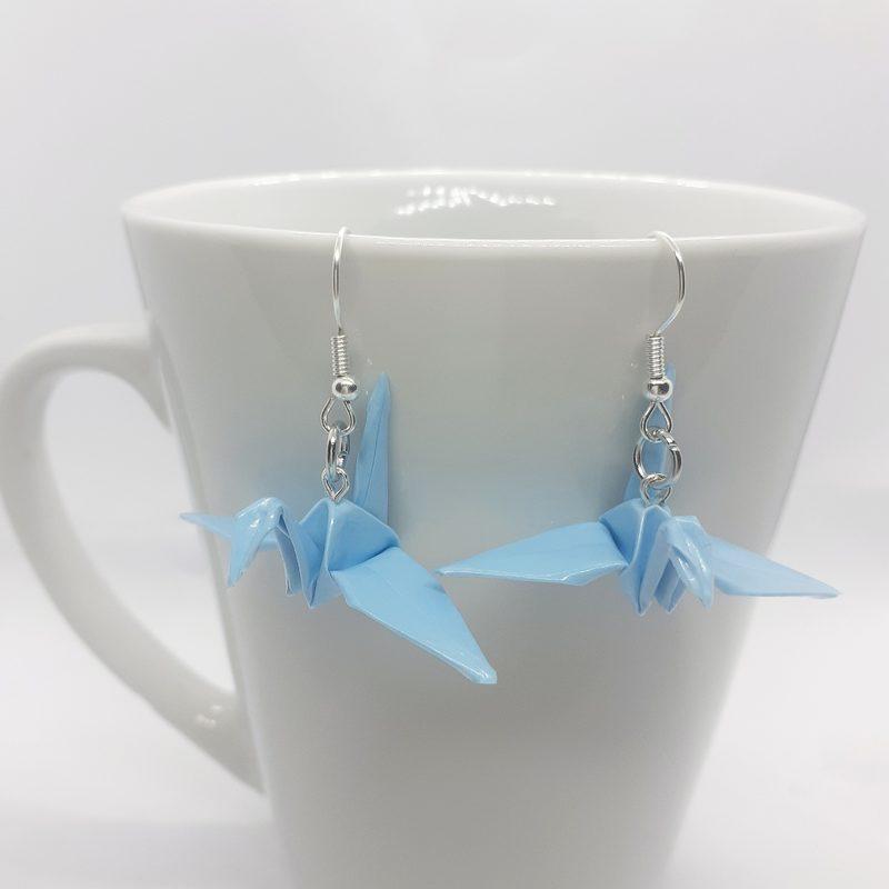 Origami-kurki -korvakorut, vaaleansininen