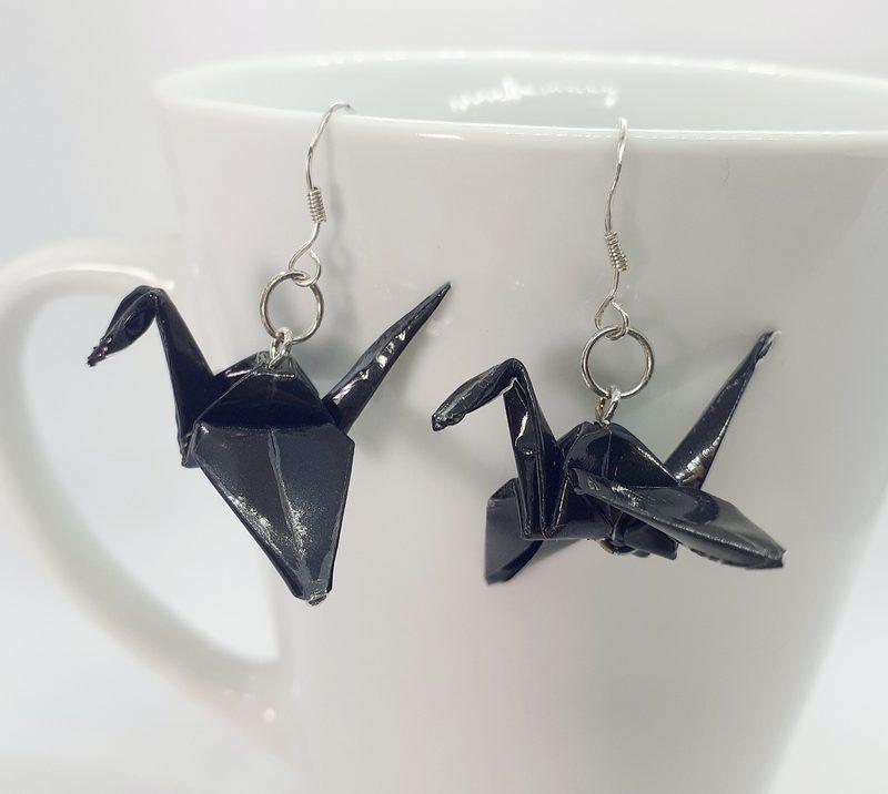 Origami-kurki -korvakorut, musta