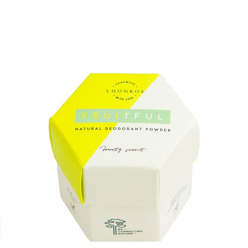 Luonkos jauhedeodorantti Fruitful, hedelmäinen tuoksu