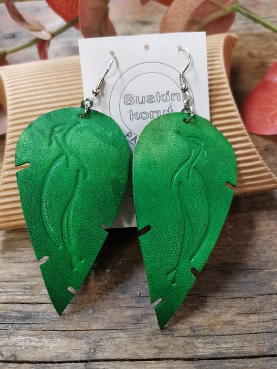 Vihreät Kurkinen-korvakorut nahkaa, Special Edition