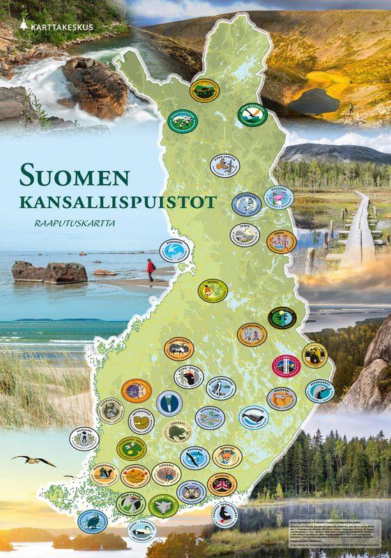 Suomen kansallispuistot-raaputuskartta 42 x 60 cm