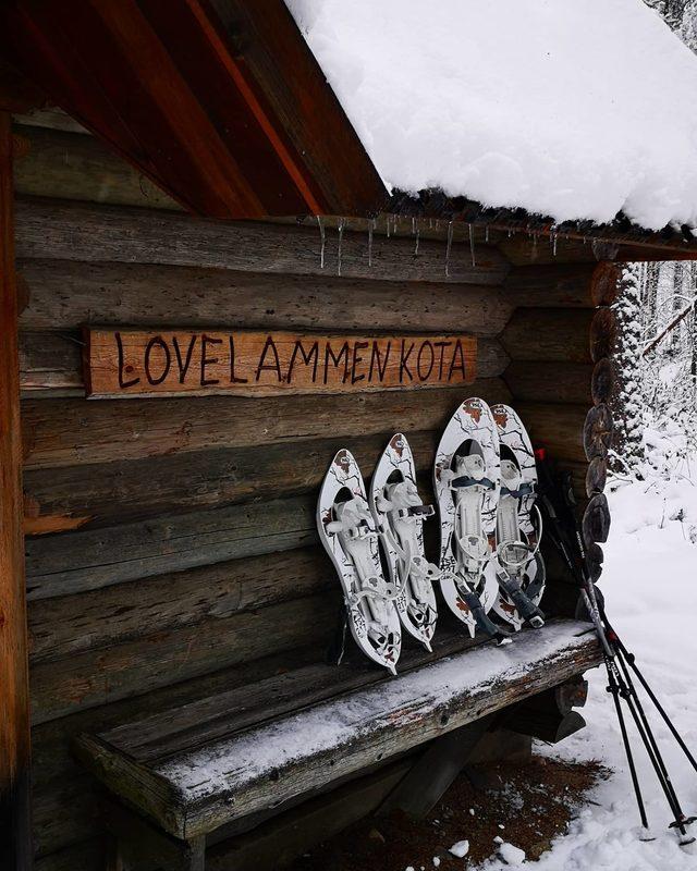 Lumikenkäretki Lovelammen kodalle