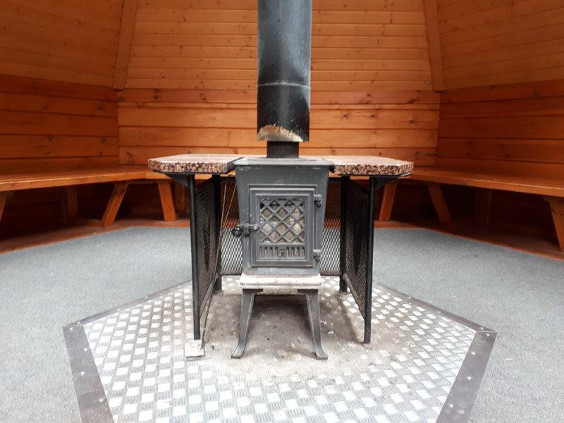 Kamina - Kodasta löytyy keskeltä kamina, jolla kodan sää lämpimäksi kesät talvet. Kamina soveltuu myös ruoan valmistukseen.