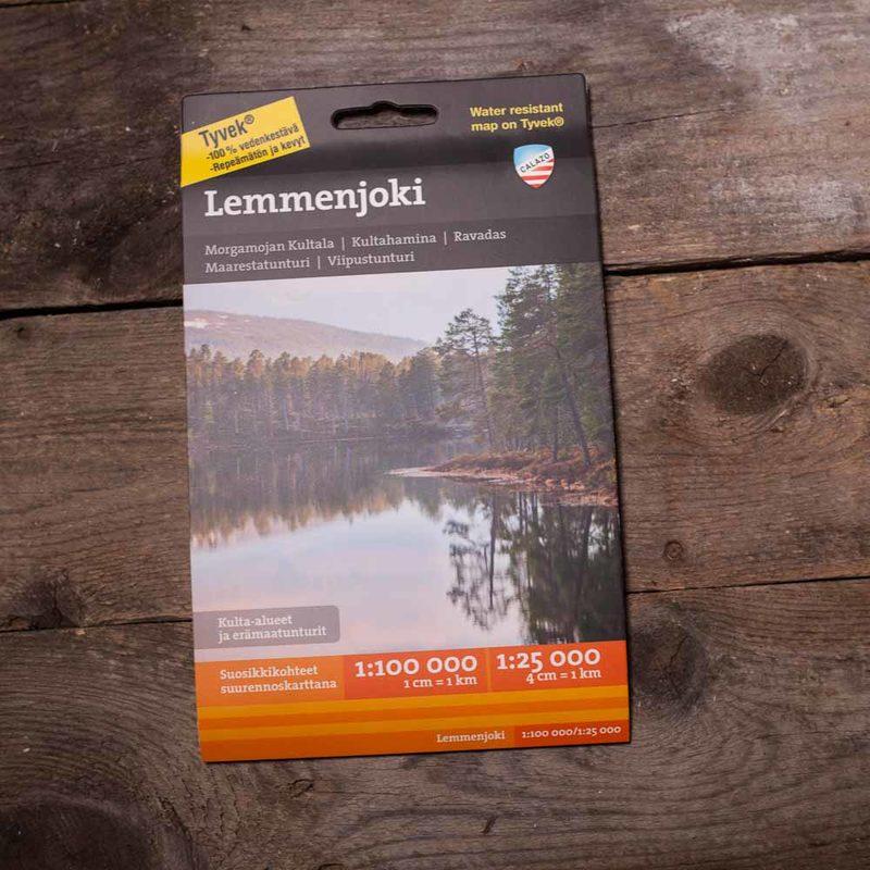 Lemmenjoki,  vedenkestävä kartta, Calazo