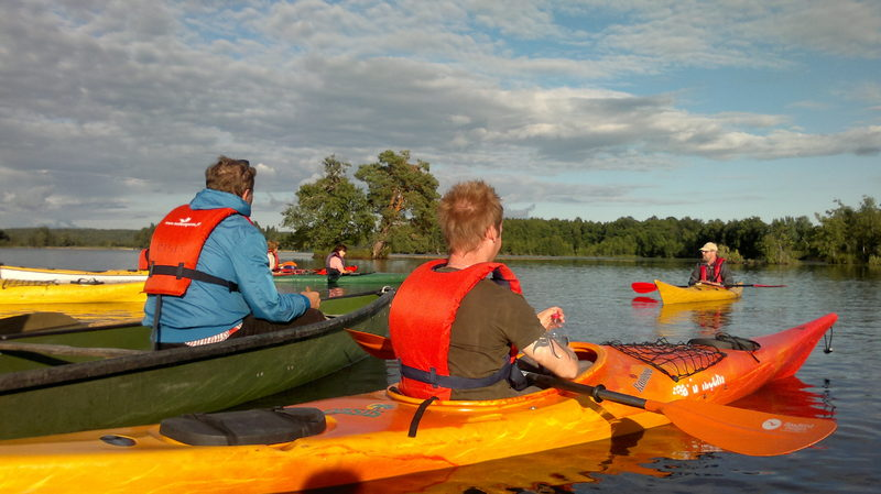 Evening paddling on Degersjön Lake (by single kayak)