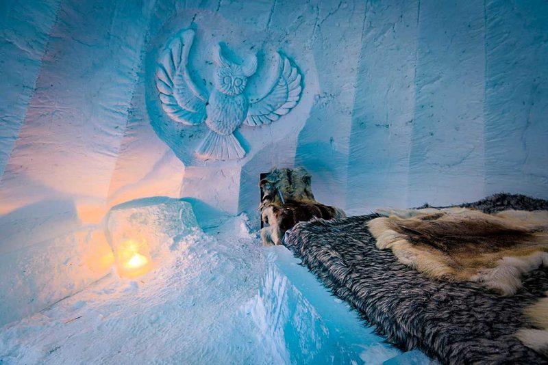 Lumi-iglu sisältä