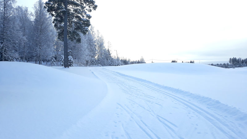 Ski tracks at Revontuli Resort