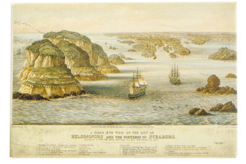 Juliste: Helsinki ja Viaporin linnoitus vuonna 1854
