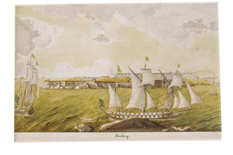 Juliste: Näkymä Kustaanmiekan salmesta 1760-luku