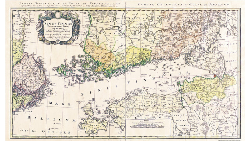 Juliste: Suomenlahden kartta vuodelta 1751