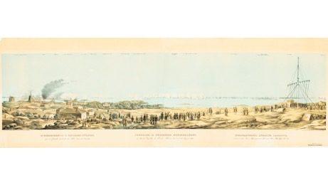 Juliste: Panoraamamaisema Viaporin pommituksesta v. 1855