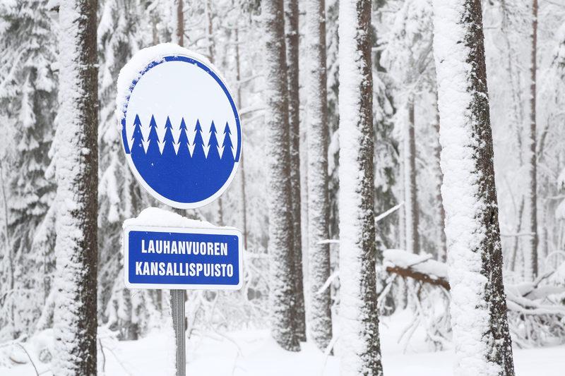 Lauhanvuoren kansallispuiston talvea - Taikapolku vie luontoon myös talvella, jolloin metsäpeuran poluilta voi löytyä monenlaisia lumijälkiä.