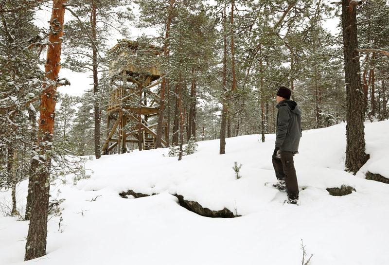 Taikapolku Susiluolan varjoissa - Talvella Lumikengät ovat hyvät kulkuvälineet Susiluolan varjoihin.