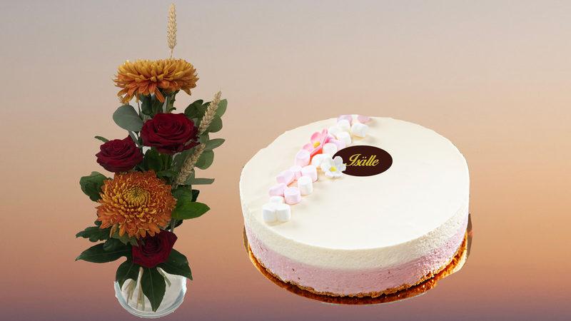 Kukka ja Vadelma-vaniljajuustokakku (L)