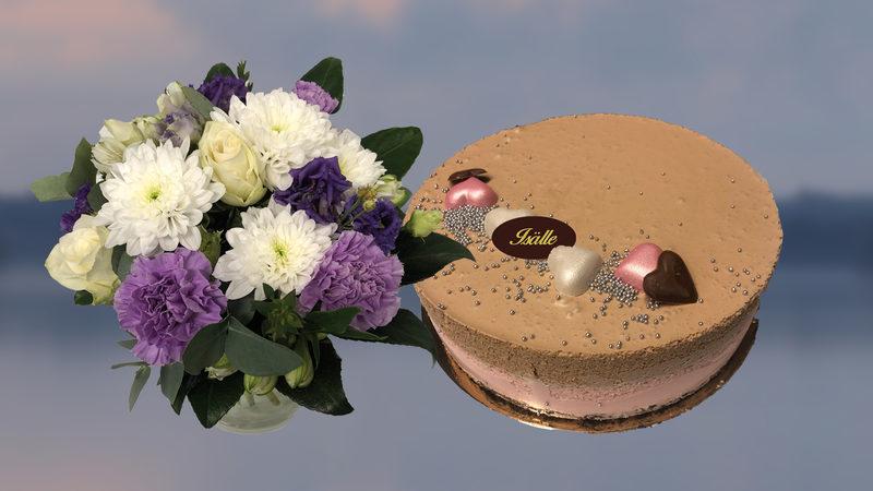 Kukka ja Mansikka-suklaajuustokakku (L)