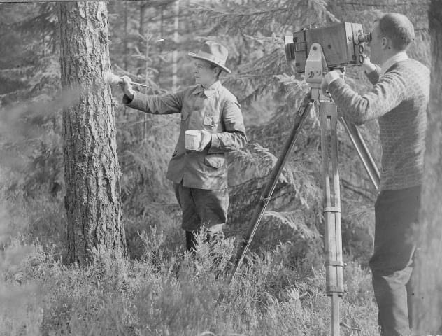 Metsäteknikko Vilho Vestala (vas) oli Tammikon ensimmäinen isäntä vuodesta 1924 - Ruotsinkylän Tutkimusmetsässä kuvattiin metsäelokuvaa 1920-luvulla. Kuvaajina Soldanin veljekset eli Juhani Ahon pojat.