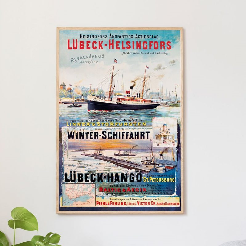 Lübeck-Helsinki juliste 50 x 70 cm