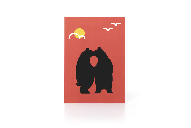 Kissing Bears Postcard