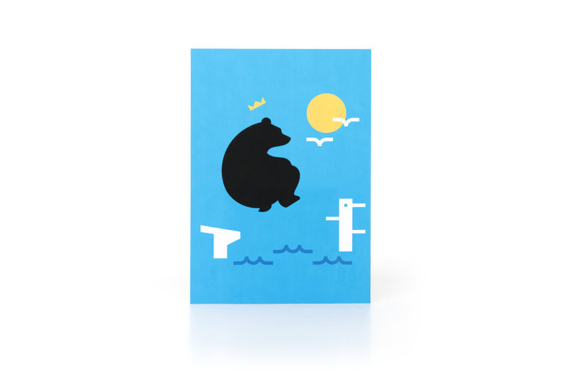 Diving Bear Postcard