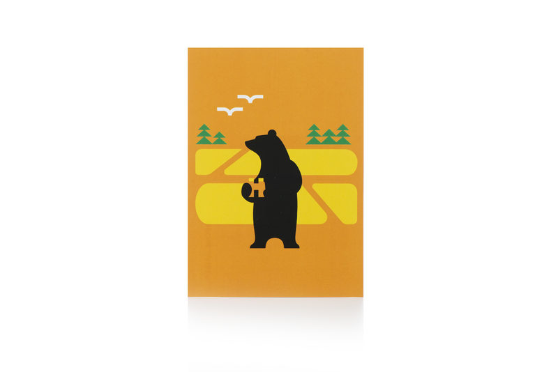 Birdwatching Bear Postcard